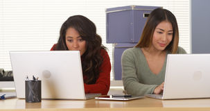 Happy multi-ethnic colleagues working on laptops Stock Image