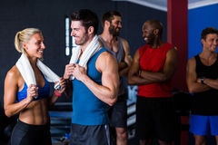 Happy multi-ethnic friends in gym Royalty Free Stock Photo