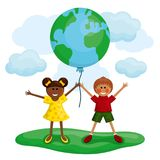 Happy kids holding the Earth balloon. Royalty Free Stock Photography