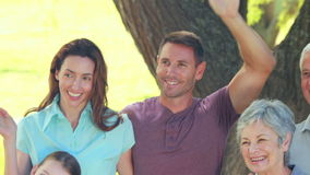 Happy multi generation family gesturing stock video