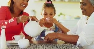 Happy multi-generation family having tea in dining table 4k. Happy multi-generation family having tea in dining table at home 4k stock video