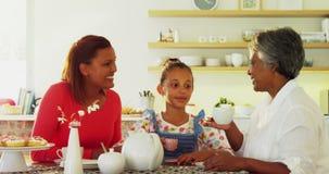Happy multi-generation family having tea in dining table 4k. Happy multi-generation family having tea in dining table at home 4k stock footage