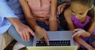 Multi-generation family using laptop in park 4k. Happy multi-generation family using laptop in park 4k stock video footage