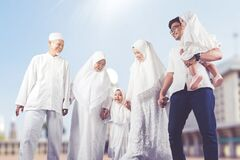 Happy multi-generation muslim family shot outdoor