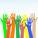 Happy multicolored hands with beautiful eye vector Royalty Free Stock Images