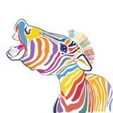 A happy multicolored zebra Royalty Free Stock Image