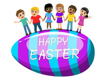 Happy Multicultural kids hand in hand big egg easter isolated stock illustration