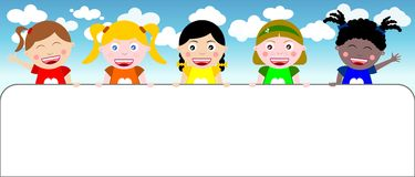 Happy Multicultural Kids holding Banner. Five happy multicultural kids holding a banner. Eps file is available. You can find other illustrations featuring kids Royalty Free Stock Photography