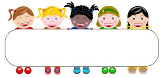 Happy Multicultural Kids Holding Banner. Illustration featuring five multicultural happy kids hold a banner isolated on white background. Eps file is available Stock Photo