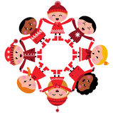 Happy multicultural winter kids holding hands. Cute winter kids in circle. Vector cartoon Illustration royalty free illustration