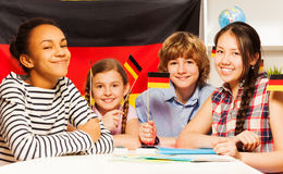 Happy multiethnic students at the language courses Royalty Free Stock Image