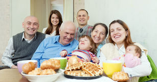 Happy multigeneration family communicate around te Royalty Free Stock Images