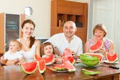 Happy multigeneration family  eating watermelon Royalty Free Stock Photos