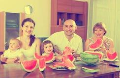 Happy multigeneration family  eating watermelon Royalty Free Stock Photo