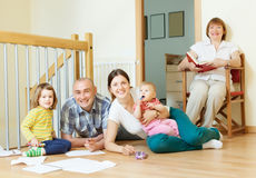Happy multigeneration family  enjoying   in home Royalty Free Stock Images