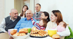 Happy multigeneration family or group of friends Stock Image