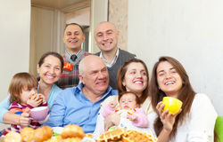 Happy multigeneration family Stock Images