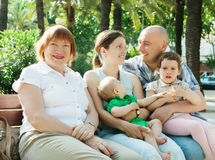 Happy multigeneration family   in sunny  day Stock Image