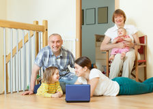 Happy multigeneration family together Stock Photos