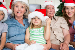 Happy multigeneration family wearing santa hats on the couch. Portrait of happy multigeneration family wearing santa hats at home Stock Photography