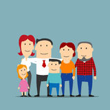 Happy multigenerational family cartoon portrait Stock Images
