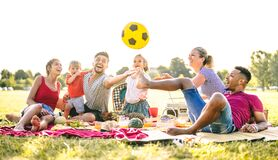 Free Happy Multiracial Families Having Fun With Cute Kids At Pic Nic Garden Party - Multicultural Joy And Love Concept Royalty Free Stock Image - 185544796