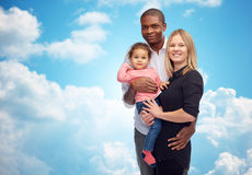 Happy multiracial family with little child Royalty Free Stock Photo