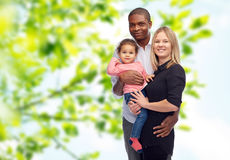 Happy multiracial family with little child Royalty Free Stock Images