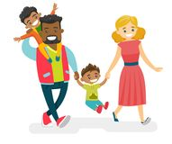 Happy multiracial family walking and having fun. Happy smiling multiracial family walking and having fun together. Young cheerful Caucasian white mother and Royalty Free Stock Photography