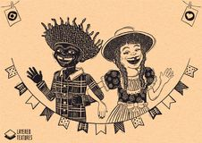 Happy multiracial hick couple waving over flags - June PArty. Woodcut style detailed vector for brazilian june party themes. Removable wood texture. Made in stock illustration