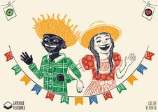 Happy multiracial hick couple waving over flags - June Party. Woodcut style detailed vector for brazilian june party themes. Removable wood texture. Made in vector illustration