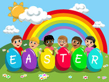 Happy multiracial kids children playing with big multicolored easter eggs outdoor royalty free illustration