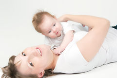 Happy mum with the babe Royalty Free Stock Photo