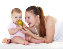 Happy mum with babe. Royalty Free Stock Photos