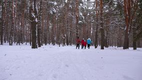 Happy mum and dad run with children through the winter forest. parents play with children in a snowy park in winter. Happy family walks in Christmas forest stock photography