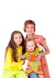 Happy mum with two children Stock Photo