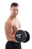 Happy Muscular Man Lifting Dumbbell Stock Image