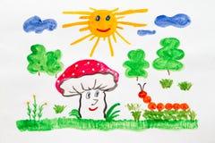 Happy mushroom Stock Photos