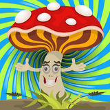 Happy mushroom with open hands Royalty Free Stock Image