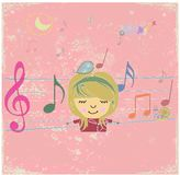 Happy music design with little girl. Royalty Free Stock Photos