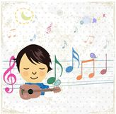 Happy music design with little girl. Stock Images