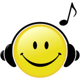 Happy Music Headphones Note Smiley Face. A happy Smiley Face button wears Headphones and a Musical Note symbol shows he is listening to music royalty free illustration