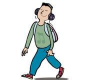 Happy music. Man walking listening to happy music stock illustration