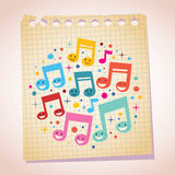 Happy music notes note paper cartoon illustration Royalty Free Stock Image
