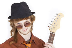 Happy musician with guitar Stock Photography