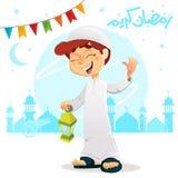 Happy Muslim Boy Celebrating Ramadan Wearing Djellaba. Vector Illustration of Happy Muslim Boy Celebrating Ramadan Wearing Djellaba stock illustration