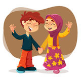 Happy Muslim Boy and Girl Stock Images