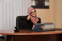 Happy Muslim Businesswoman Thumbs Up Sign Royalty Free Stock Images