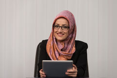 Happy Muslim Businesswoman Thumbs Up Sign Stock Image