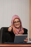 Happy Muslim Businesswoman Thumbs Up Sign Royalty Free Stock Photography